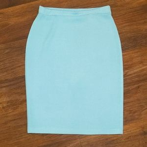 St. John Light Blue Knit Pencil Skirt sz 4
